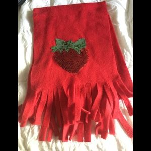Red fleece scarf with sequin strawberry